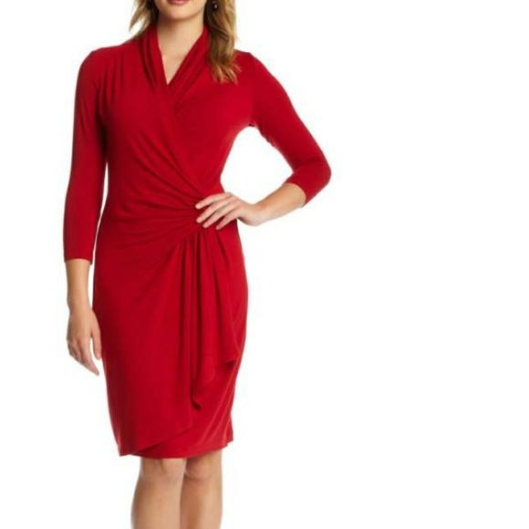 cca2b21ce2c Karen Kane Cascade Faux Wrap Dress in Red